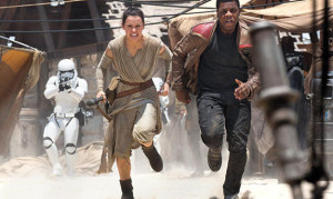"Boyega and Daisy Ridley as ""Finn"" and ""Rey"""